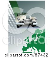 Royalty Free RF Clipart Illustration Of A Retro Green And Beige Car Over Green With Halftone And A Map