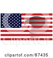 Royalty Free RF Clipart Illustration Of A Bald Eagle Shadow Over An American Flag