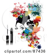 Royalty Free RF Clipart Illustration Of A Floral Woman And Mascara On A White Background by leonid