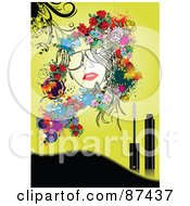 Royalty Free RF Clipart Illustration Of A Floral Woman And Mascara On A Yellow Background