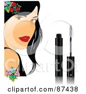 Royalty Free RF Clipart Illustration Of A Pretty Woman With Flowers And Mascara by leonid
