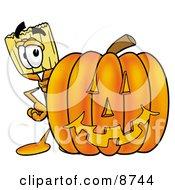 Broom Mascot Cartoon Character With A Carved Halloween Pumpkin