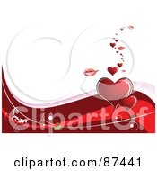 Royalty Free RF Clipart Illustration Of A Horizontal Valentines Day Background With Red Vines Hearts Lips And Gulls