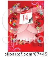 Royalty Free RF Clipart Illustration Of A February 14th Calendar On A Red Background With Butterflies Flowers Lips And Hearts