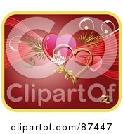 Royalty Free RF Clipart Illustration Of A Red Wedding Background Hearts And Wedding Bands