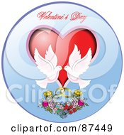 Royalty Free RF Clipart Illustration Of A Valentines Day Greeting With Two Doves A Heart Flowers And Rings In A Blue Circle