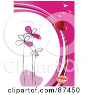 Royalty Free RF Clipart Illustration Of A Vertical Valentines Day Background With Pink Flowers Hearts Lips And Gulls