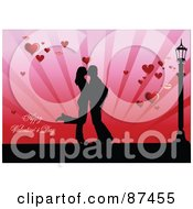 Royalty Free RF Clipart Illustration Of A Happy Valentines Day Greeting With A Kissing Couple Hearts And Street Light by leonid