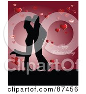 Royalty Free RF Clipart Illustration Of A Happy Valentines Day Greeting Of A Kissing Couple With Hearts On Red by leonid