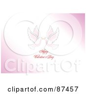 Royalty Free RF Clipart Illustration Of A Happy Valentines Day Greeting With Kissing Doves On Pink