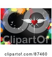Royalty Free RF Clipart Illustration Of A Winged Red Heart With Birds And Stars On Black Bordered By Colorful Splatters