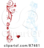 Royalty Free RF Clipart Illustration Of A Valentines Day Background With Red And Blue Floral Vines And A Heart On White