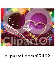 Royalty Free RF Clipart Illustration Of A Purple Valentines Day Background With A Gold Heart Waves And Colorful Splatters