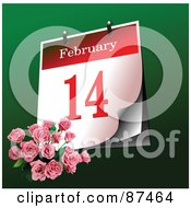 Royalty Free RF Clipart Illustration Of A Pink Rose Bouquet By A February 14th Calendar On Green