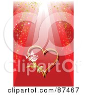 Royalty Free RF Clipart Illustration Of A Red Valentines Day Background With A Rose And Ribbon On A Heart