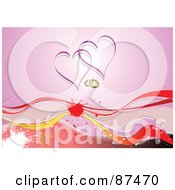 Royalty Free RF Clipart Illustration Of A Grungy Horizontal Heart And Wedding Ring Background With Waves On Pink