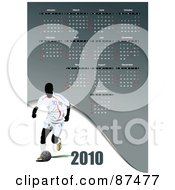 Royalty Free RF Clipart Illustration Of A Gray 2010 Soccer World Cup Calendar With All Months And An Athlete by leonid