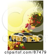 Royalty Free RF Clipart Illustration Of A Yellow Sports Car Over Green And Yellow With Autumn Leaves