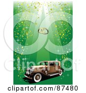 Vintage Car Under Wedding Bands On A Glittery Green Background
