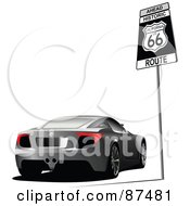 Royalty Free RF Clipart Illustration Of A Car Parked By A Route 66 Sign by leonid