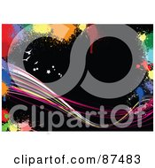 Royalty Free RF Clipart Illustration Of A Black Grungy Background With Waves Birds Stars And Colorful Blots
