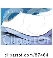 Royalty Free RF Clipart Illustration Of A Blue Wave Background With Blank White Copyspace And Tiles by leonid