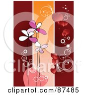 Royalty Free RF Clipart Illustration Of A Valentines Day Background Of Vertical Bars With Flowers And Hearts