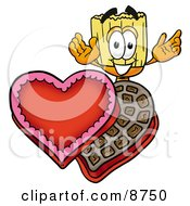 Broom Mascot Cartoon Character With An Open Box Of Valentines Day Chocolate Candies