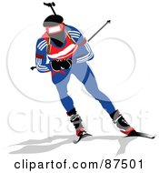 Royalty Free RF Clipart Illustration Of A Biathlon Skier Holding Back His Poles