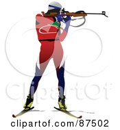 Royalty Free RF Clipart Illustration Of A Biathlon Skier Shooting
