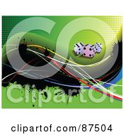 Royalty Free RF Clipart Illustration Of A Green Dice Background With Grungy Splatters And Waves by leonid