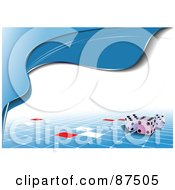 Royalty Free RF Clipart Illustration Of Waves Of Blue Around White Over Dice And Tiles by leonid