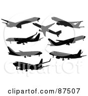 Royalty Free RF Clipart Illustration Of A Digital Collage Of Airliner Silhouettes
