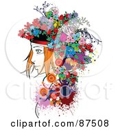 Royalty Free RF Clipart Illustration Of A Red Haired Woman With A Floral Hat