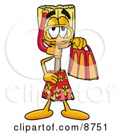 Clipart Picture Of A Broom Mascot Cartoon Character In Orange And Red Snorkel Gear by Toons4Biz