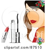 Royalty Free RF Clipart Illustration Of A Pretty Woman With Flowers Lipstick And Mascara