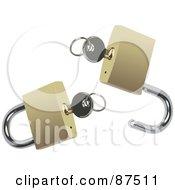 Digital Collage Of Silver Keys In A Locked And Unlocked Gold Padlocks