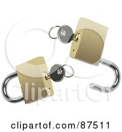 Royalty Free RF Clipart Illustration Of A Digital Collage Of Silver Keys In A Locked And Unlocked Gold Padlocks
