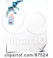 Royalty Free RF Clipart Illustration Of A Turning Promotion Page With A Bow And Price Tag