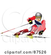 Royalty Free RF Clipart Illustration Of A Professional Skier Leaning Far To The Side