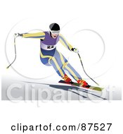 Royalty Free RF Clipart Illustration Of A Professional Skier Leaning To The Side