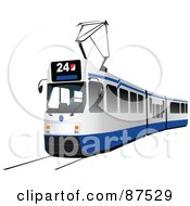 Royalty Free RF Clipart Illustration Of A Modern Blue And White Tram Car by leonid