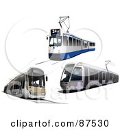 Royalty Free RF Clipart Illustration Of A Digital Collage Of Three Modern Tram Cars by leonid