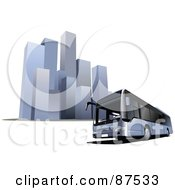 Royalty Free RF Clipart Illustration Of A Modern Bus In Front Of Tall Skyscrapers
