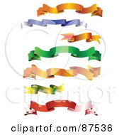 Royalty Free RF Clipart Illustration Of A Digital Collage Of Wavy Blank Colorful Banners
