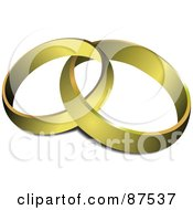 Royalty Free RF Clipart Illustration Of Two Plain 3d Golden Wedding Bands