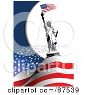Royalty Free RF Clipart Illustration Of The Statue Of Liberty On Top Of Floating Stars And American Stripes