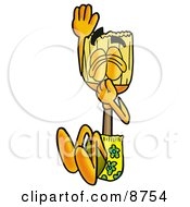 Clipart Picture Of A Broom Mascot Cartoon Character Plugging His Nose While Jumping Into Water