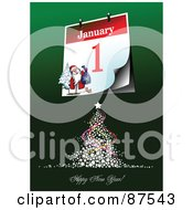 Royalty Free RF Clipart Illustration Of A Tree With A Happy New Year Greeting by leonid