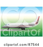 Royalty Free RF Clipart Illustration Of A Large Airplane On The Start Of The Runway